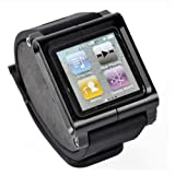 Adjustable length Sport Watch Band Wrist Strap Bracelet Case Cover Wristband for Apple iPod Nano 6 6g 6th Gen Generation - black