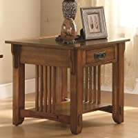 Coaster Drawer End Table with Shelf, Warm Brown