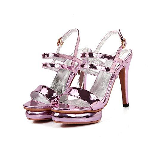 Women's AllhqFashion Sandals Pink Heels Solid Open High Metal Toe PU 6PcdPwqFx4