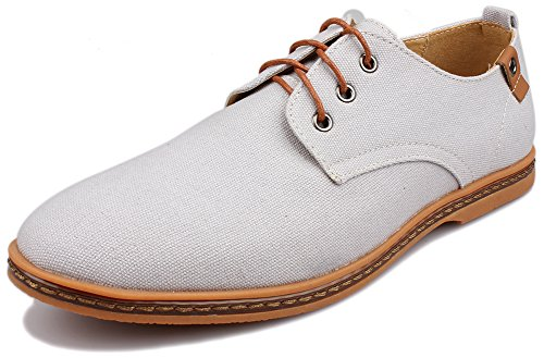 Kunsto Men's Canvas Oxford Shoes Lace up US Size 9.5 Light Grey