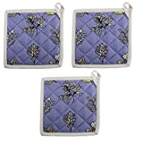 """Set of 3 Pot Holders, 100% Cotton of Size 8""""X8 Inch, Eco-Friendly & Safe, Blue Autmun Leaves Design for Kitchen"""