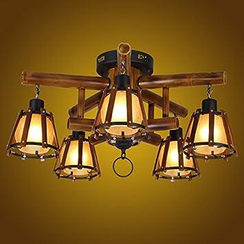 Asl Retro Deckenleuchte Bambus Deckenleuchte Massivholz Lampen E27