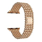 Owill Beaded Pattern Stainless Steel Watch Band Replacement Strap for Apple Watch Series 1/2/3 42MM, Length:18CM (Rose Gold)