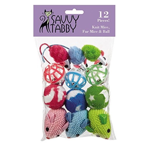 - Savvy Tabby Knit Mice, Fur Mice, and Balls Cat Toys, 12-Packs