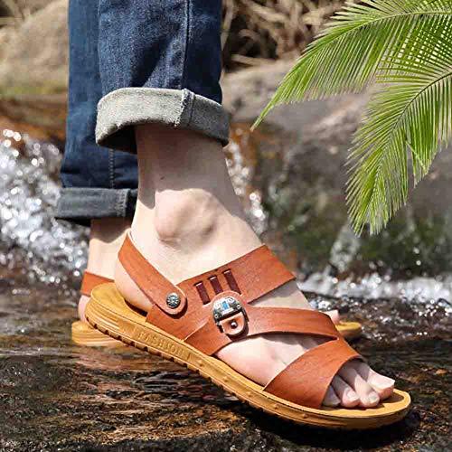 Pantofole Uomo 42 Brown Da Toe Antiscivolo Pelle Spiaggia Sandali Open Da Morbida Outdoor In Traspiranti Sconosciuto R4zZXqx