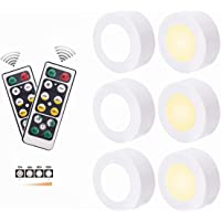6 Pack Wireless Puck Lights, Led Puck Lights with 2 Remote Controllers, AAA Battery PoweredLed Under Cabinet Lighting…