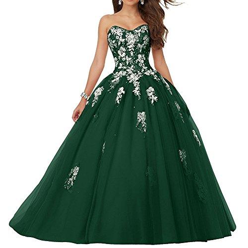 Quinceañera Vestido Fiesta Sin Vestido Mujer de Noche Tul de Verde JAEDEN Largo Tirantes Vestido de 1YPvqttWRw