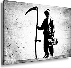 Banksy Graffiti Street Art -1169, Size 100x70x2 Cm. Printed On Canvas Stretched On A Wooden Frame.
