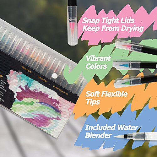 Trovino Real Brush Pens, 24 Paint Markers with Flexible Brush Tips + Bonus Water Brush, Professional Watercolor Pens for Painting, Drawing, Coloring & More, 100% Nontoxic, 24 Vivid Colors Photo #6