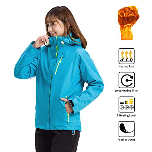 OUTANY Women Electric Jacket, 5V, USB, Ladies Heating Jacket with Cap Waterproof, Ladies Fashion, Wind and Anti-Fouling (Excluding Mobile Power) Detachable,for Hiking Camping,XL (Connecting Zone Block 2)
