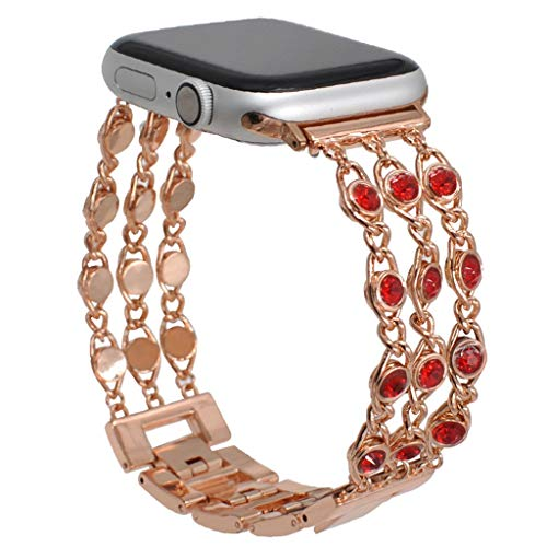 Kitt Fashion Jewelry Band Compatible with Apple Watch Series 4 3 2 1 42mm 44mm, Women Luxury Gem Chain Bling Crystal Stainless Metal Replacement Strap for Apple Watch Band 42mm/44mm - Well Swarovski Crystals