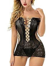 MIJUGGH Women's Fishnet Lingerie Babydoll Mesh Hole Chemise Babydoll Sleepwear Mini Dress One Size