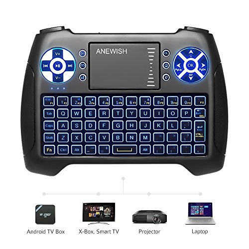 (2018 Latest, Backlit) ANEWISH 2.4GHz Mini Wireless Keyboard with Touchpad Mouse Combo, Rechargable Li-ion Battery & Multi-media Handheld Remote for Google Android TV (Wireless Mini Touchpad)