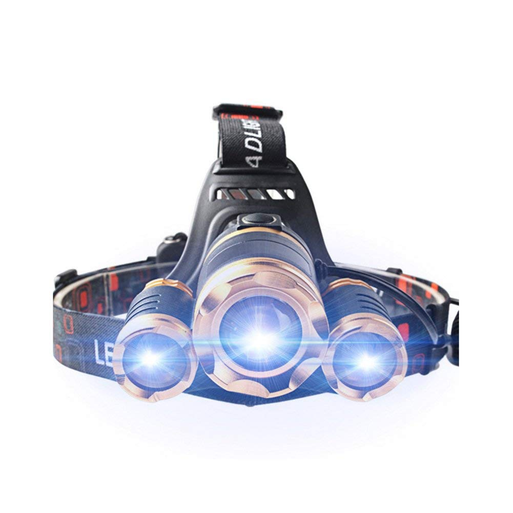 KLSHW LED Outdoor Camping Glare Rechargeable Aluminum Alloy T6 High Power 30W Three Lithium Battery Zoom Night Fishing Headlights