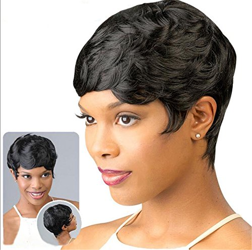 ATOZWIG New Short Hair Wigs For Black Women Black and Short Curly Synthetic Wigs Perruque Synthetic Women Wigs by ATOZWIG