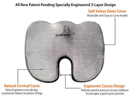 Cushion Rx Premium 3-layer Coccyx Ortho Seat Cushion with...