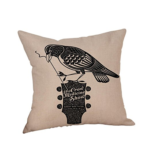 Decorative Throw Pillow Cases,Woaills Halloween Crow Linen Sofa Cushion Cover Home Decor With Hidden Zipper 18