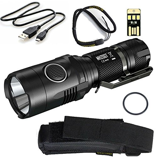 Nitecore MH20GT SUPER BUNDLE with Rechargeable LED Flashlight, USB Charging Cable, Holster, Lanyard, and Mini USB Light
