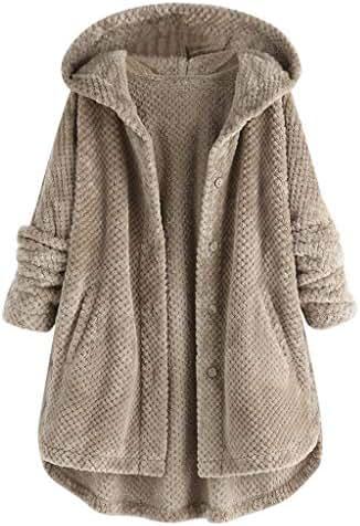 NOMUSING Winter Overcoat for Women Plus Size Elegant Fleece Irregular Long Sleeve Button Pocket Hooded Coat Outerwear
