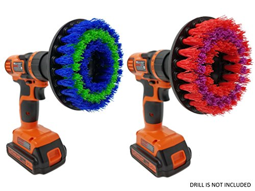 Drill Brush Attachment Scrubbing Set: Beast Brush Spin Power Scrubber for Fast and Easy Cleaning for All Surfaces, Medium & Stiff Bristles for Bathroom Shower and Tub, Kitchen Tiles, Carpet, Cars