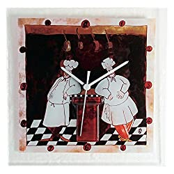 River City Clocks Glass Wall Clock with Two Chefs