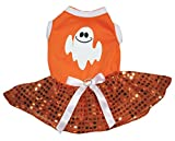 Petitebella Halloween Ghost Orange Shirt Sequins Tutu Puppy Dog Dress (Large)