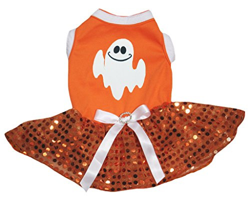 Petitebella Halloween Ghost Orange Shirt Sequins Tutu Puppy Dog Dress -