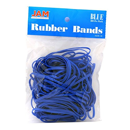 JAM Paper Rubber Bands - #33 Size - Blue Rubberbands - 100/pack (Rubber Bands Ball)