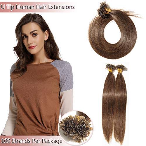 U Tip/Nail Tip Remy Human Hair Extensions 100 Strands Per Package Pre Bonded Italian Keratin Fushion Hairpiece Long Straight Silky For Women #4 Medium Brown 16 inches 50g
