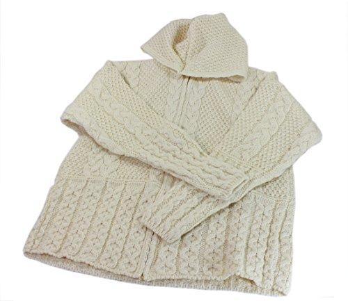 Irish Wool Cardigan Sweater Zip Up Ivory Made in Ireland ...