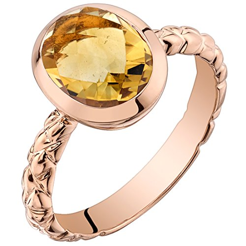 14k Rose Gold Citrine Cupola Solitaire Dome Ring (2.00 carat) Size (Dome Cupola)