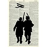 SOLDIERS ART PRINT - WWII ART PRINT - SILHOUETTE ART PRINT - ART PRINT - Vintage Art Print - Illustration - Picture - Vintage Dictionary Art Print - Wall Hanging - Home Décor - Book Print 296D