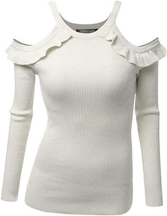 Mujer Sudaderas Otoño Invierno Moda Volantes Basa La Camisa Skinny Bonita Jerseys Sencillos Camisas Color Sólido Sin Tirantes Manga Larga Sudadera Tops Estilo: Amazon.es: Ropa y accesorios