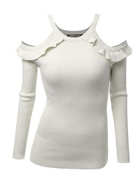 Mujer Sudaderas Otoño Invierno Moda Volantes Basa La Camisa Skinny Bonita Jerseys Camisas Ropa Color Sólido Sin Tirantes Manga Larga Sudadera Tops: ...
