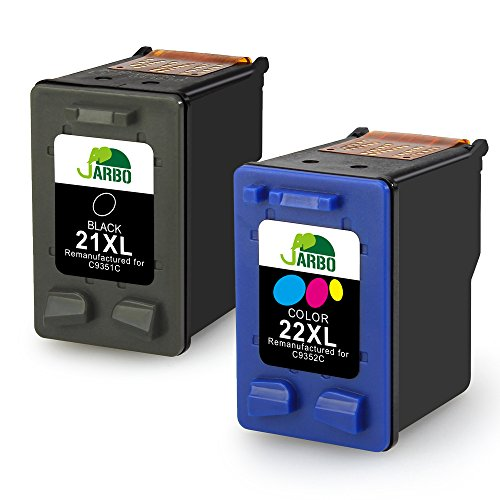 JARBO Manufactured Ink Cartridge for HP 21 22 High Yield, 1 Black+1 Tri-Color, Used with HP Officejet 4315 J3680 Deskjet 3915 3930 3940 D1341 D1420 D1455 D1520 D1530 D1560 D2330 (3180 Fax)