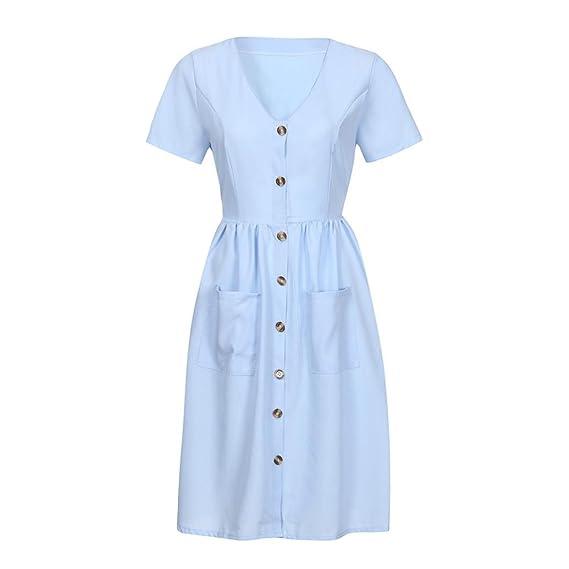Vestido de verano, RETUROM Vestido mujer verano Mini vestido casual sin mangas de playa de