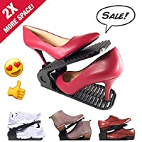 Tidying up - Adjustable Shoes Organizer Black/White Shoe Slots | Closet Storage Space Saver | Durable | High Heels to Sneakers, for Men & Women Shoes (8 Pack)