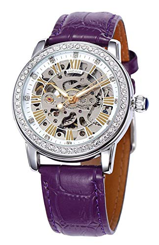 Fashion Women Automatic Mechanical Watch Skeleton Rhinestone Leather Strap Girls Watches (Silver - Skeleton Purple