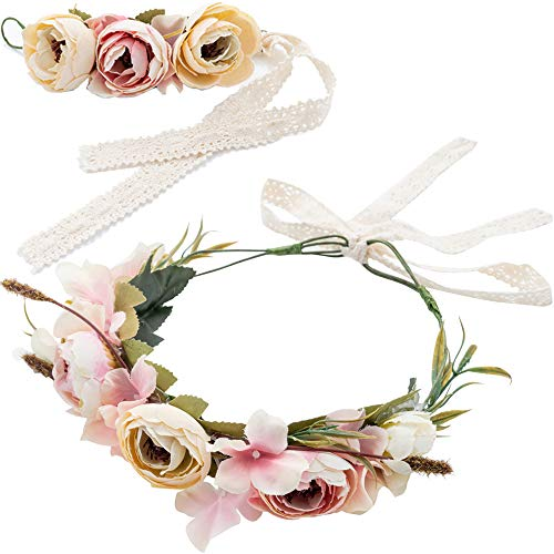 Woman Flowers Wreath Crown Halo Floral Wedding Garland Headband Bride Headpiece Wrist Band Bracelet Set with Adjustable Lace Ribbon For Festival Travel Holiday Photography
