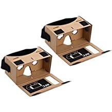 Blingkingdom - (2pcs in Pack) Google Cardboard Headset 3D Virtual Reality VR Goggles for Android Smart Phones iPhone + NFC and Head-Strap