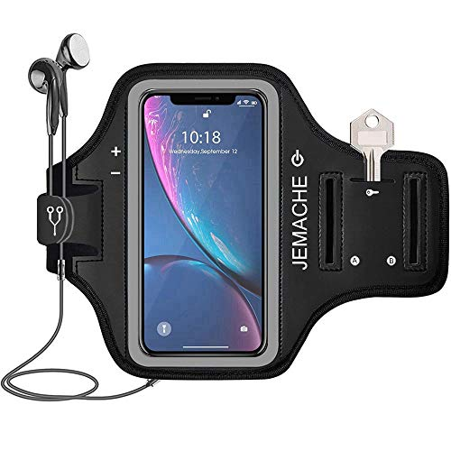 iPhone XR Armband, JEMACHE Water Resistant Gym Running Workout/Exercise Arm Band Case for iPhone XR (6.1