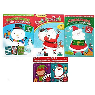 Christmas Coloring And Activity Books for Kids- Set of 5 - Lots of Puzzles, Mazes, Dot to Dot, Drawing Pages, Word Searches, Stickers and 2 Carry-Along Coloring Sets Incl 5 Crayons - Great Bundle: Toys & Games