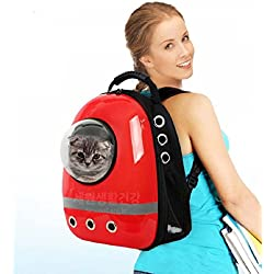 Pet Bag Cat Dog Carrier Spaceship Bag Backpack Red