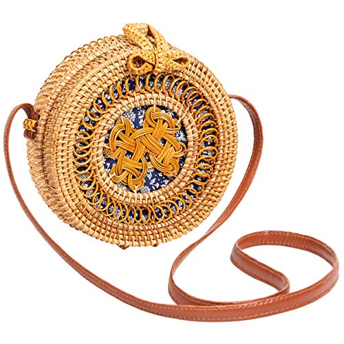 (Rattan Bag for Women Lefur Round Handwoven Shoulder Straw Bag Crossbody Purse with Handles Handmade Hollow-Carved)