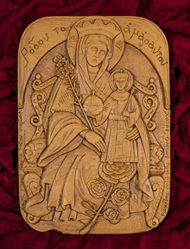 (Theotokos The Unfading Flower Bloom Rose Hand-carved Aromatic Christian Orthodox Plaque Icon Made with Pure Beeswax, Mastic and Incense From Mount Athos)