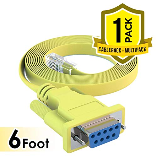 (CableRack 6ft DB9 Female to RJ45 Male Rollover Console Cable for Cisco Yellow)