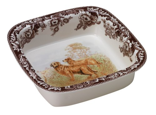 Spode Hunting Dogs - Spode Woodland Hunting Dogs Golden Retriever Square Rim Dish Oven to Table