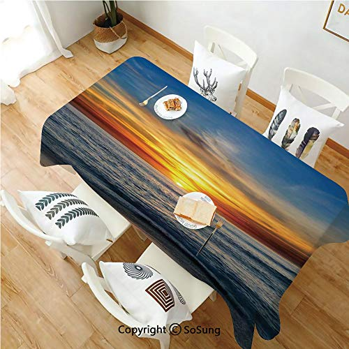 Ocean Decor Rectangle Polyester Tablecloth,Sunset Over the Pacific Ocean From La Jolla California Sunlight Colored Sky Photo Print,Dining Room Kitchen Rectangle Table Cover,70W X 90L inches,Orange Blu