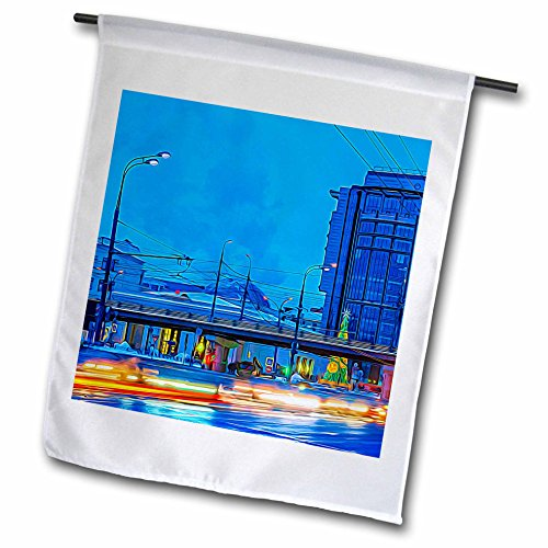 3dRose Alexis Photo-Art - Moscow City - Blue hour traffic along Garden Ring avenue of Moscow. Winter evening - 12 x 18 inch Garden Flag - Avenues Hours