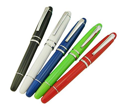 Asvine 5 PCS General Fountain Pens Medium Diversity Color (Black,White,Blue,Green & Red) Pen Set Well Balance Smooth Writing